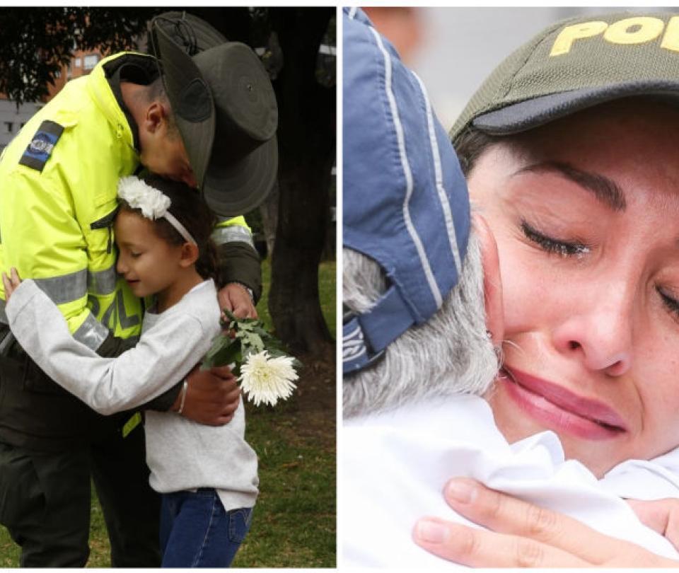 Las emotivas muestras de apoyo para la Policía durante la marcha