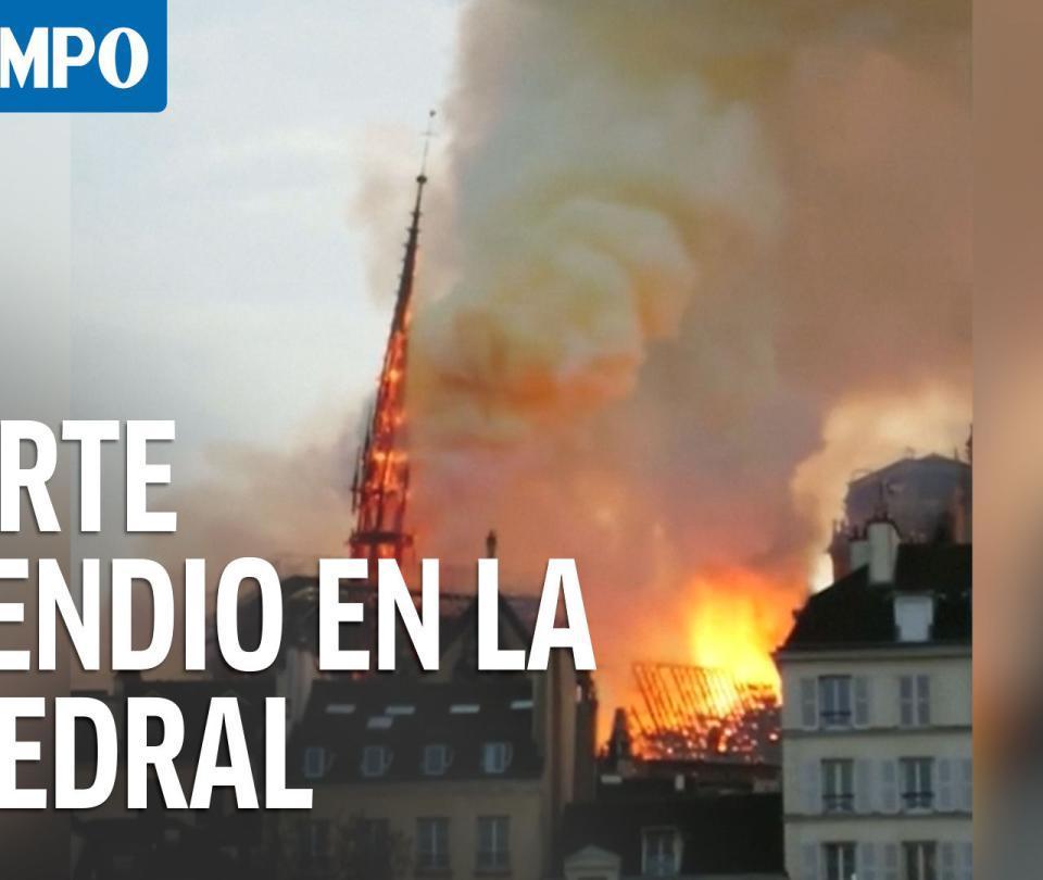 Vea cómo fue la caída de la aguja de la Catedral de Notre Dame