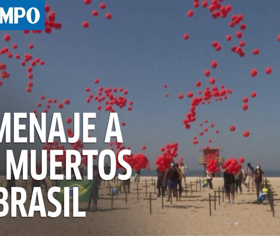 Brasil: Lanzan mil globos en homenaje a 100.000 muertos por covid-19