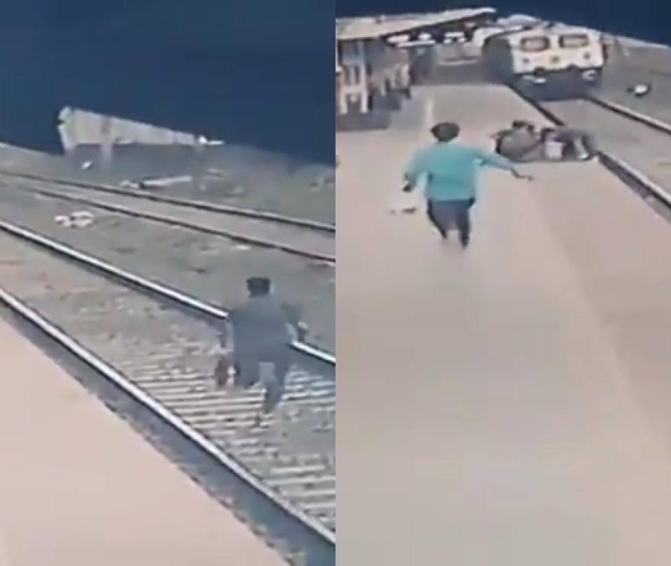 Video: por un segundo, salvan a niño de morir atropellado por un tren