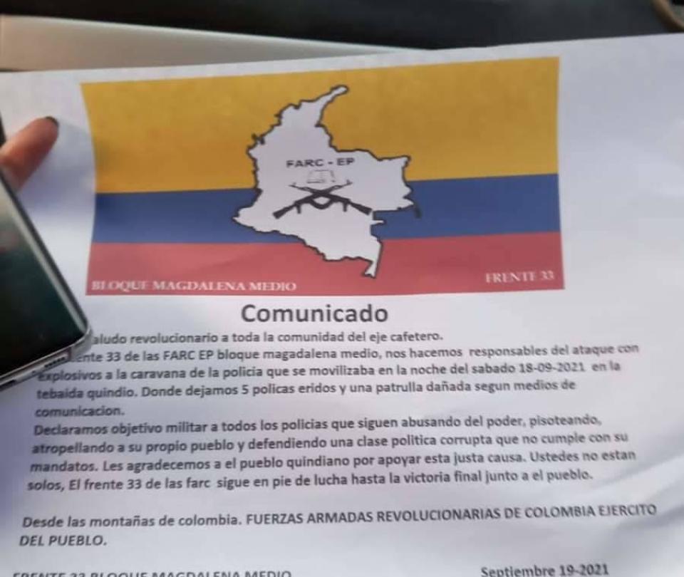 Con panfleto, disidencias se atribuyen atentado en La Tebaida, Quindío