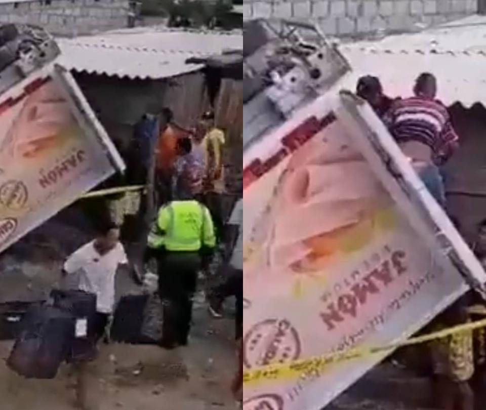 Saquearon camión que se volcó en Tasajera, Magdalena