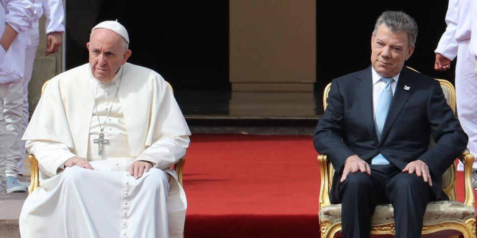 Papa Francisco y Juan Manuel Santos
