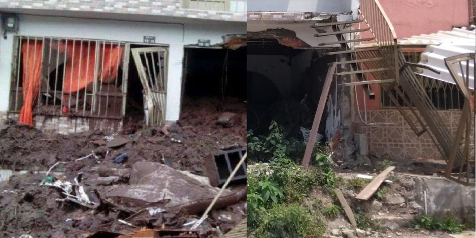 Antes/después casa Aranjuez afectada por derrumbe en Manizales
