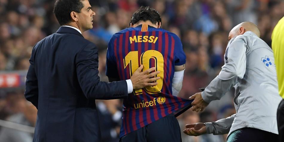 Video caída de Lionel Messi lesión en el codo Barcelona
