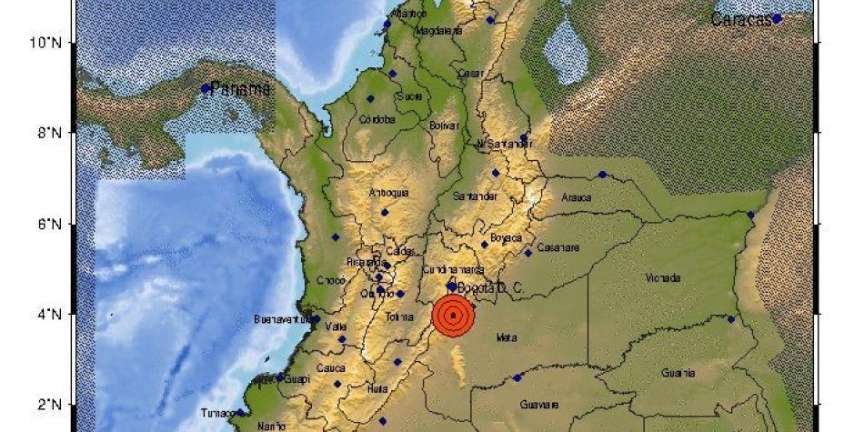 Se registra temblor de magnitud 4.5 en Guamal, Meta
