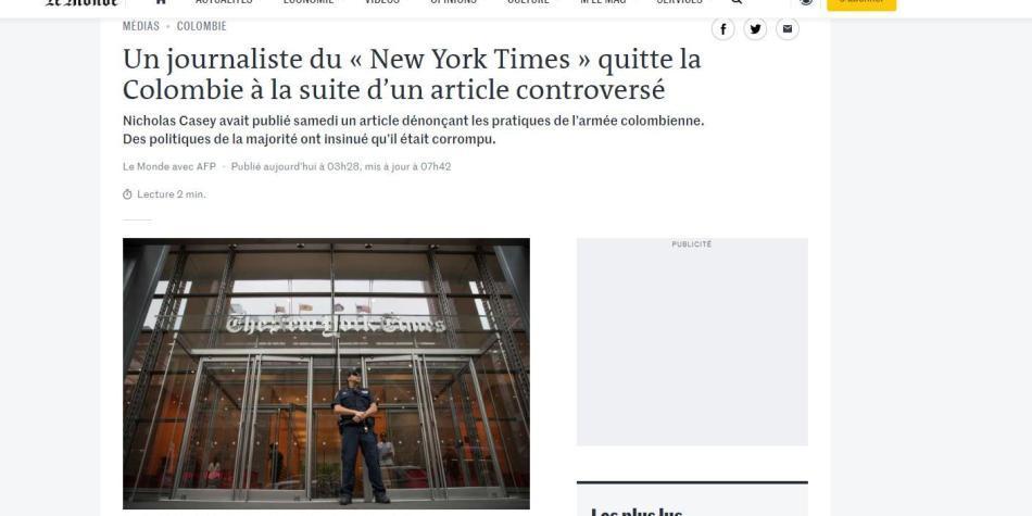 Prensa internacional rechaza señalamientos contra periodista del NYT