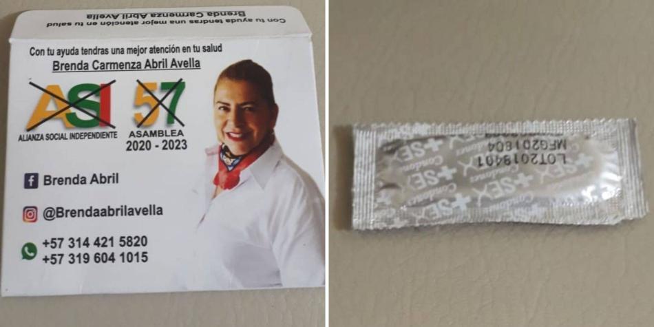 Candidata ofrece condones
