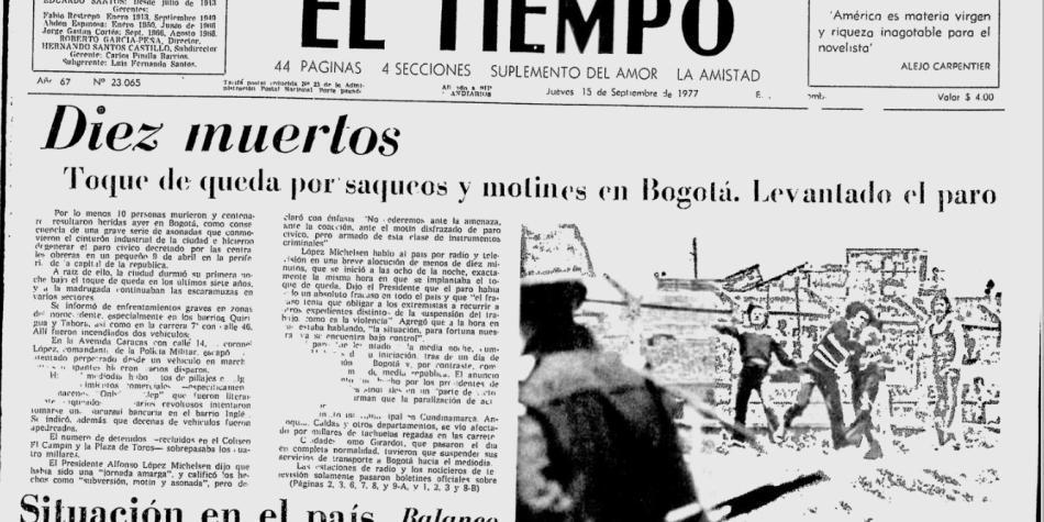 En 1977, el antecedente de toque de queda total en Bogotá