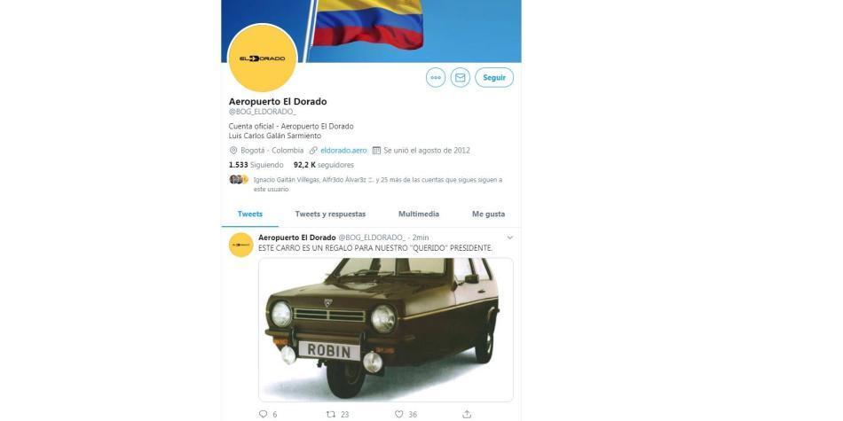 Cuenta de Twitter del aeropuerto El Dorado habría sido suplantada