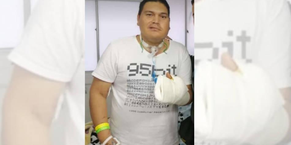 Se conoce primera fotografia de Policía herido en protestas de Neiva
