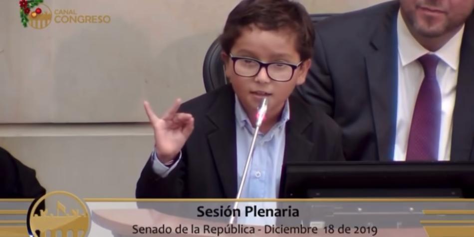El niño orador que descrestó al Congreso