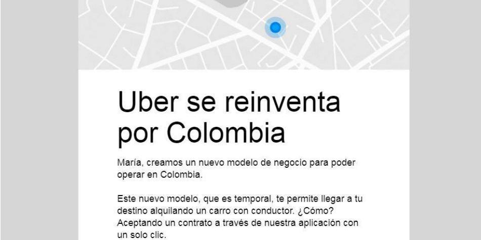 Esta es la notificación que les llegó a los usuarios de Uber