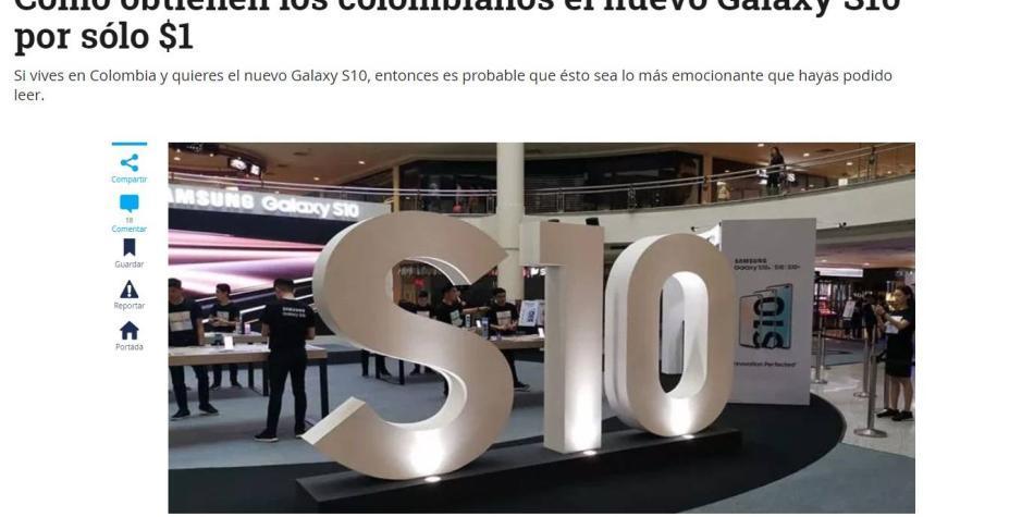 ¡Ojo!: EL TIEMPO no está promoviendo compras a $1 del S10, de Samsung
