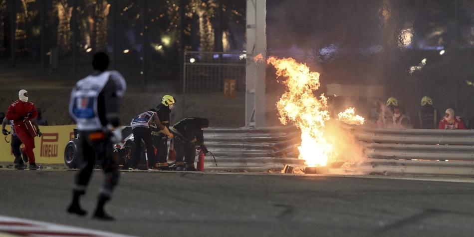 ¡Terrible accidente en la F1! El carro de Grosjean terminó en llamas