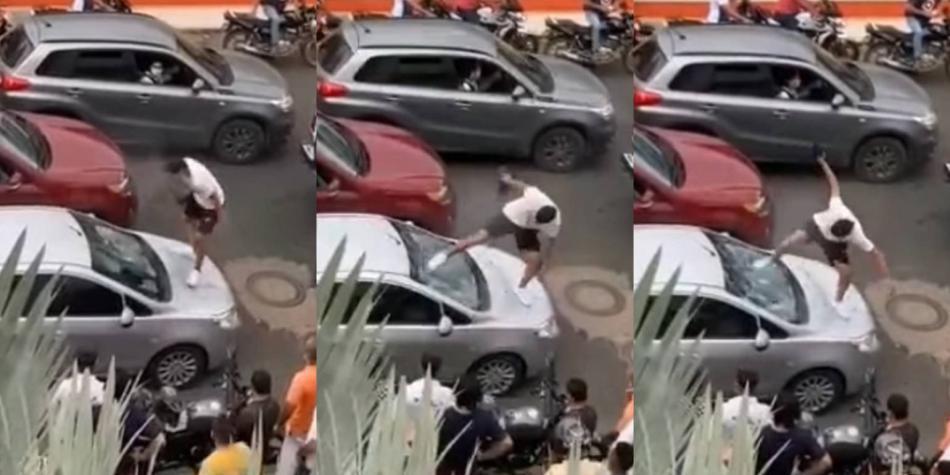 Video: hombre se enfrentó a supuestos ladrones y les destrozó un carro