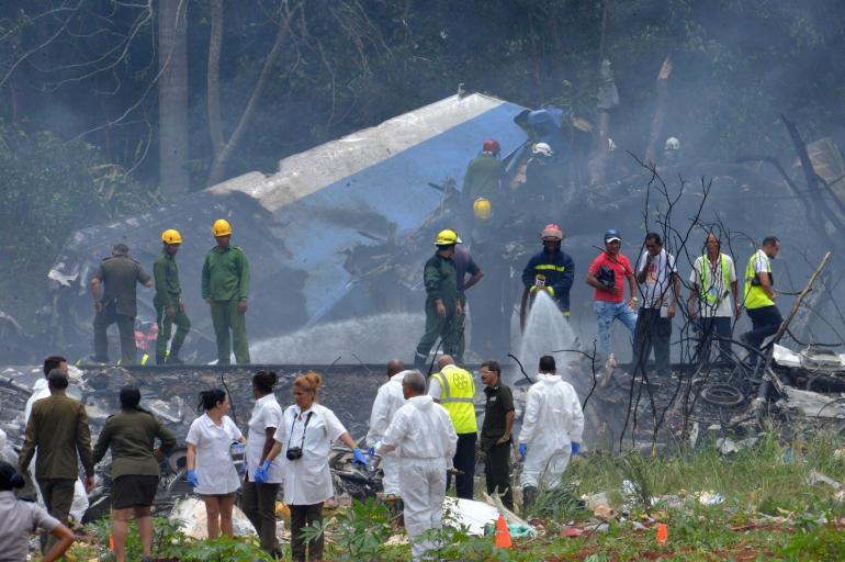 Así  quedó el avión accidentado en Cuba