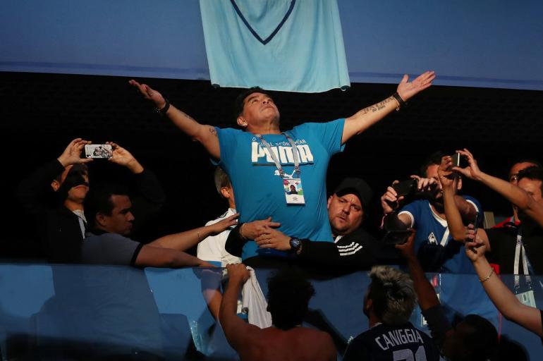 La locura de Maradona durante el partido de Argentina frente a Nigeria