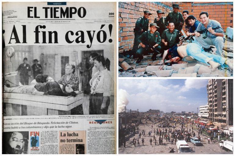 Imágenes de los atentados y la muerte de Pablo Escobar