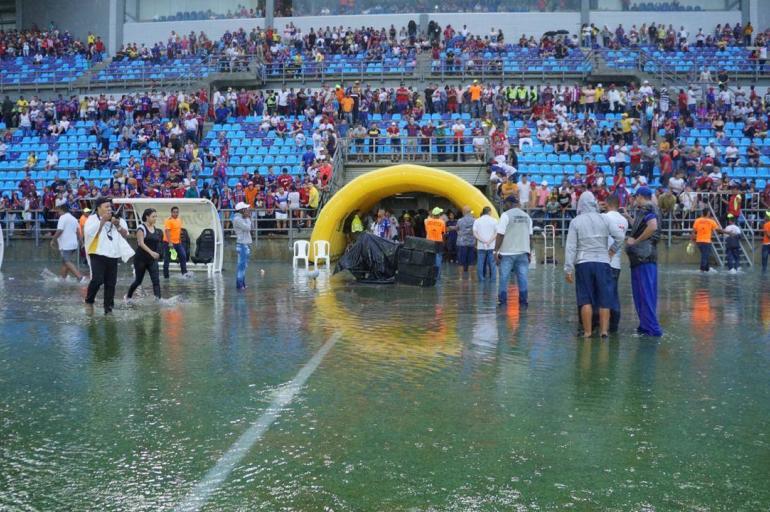Inundación del estadio de Santa Marta
