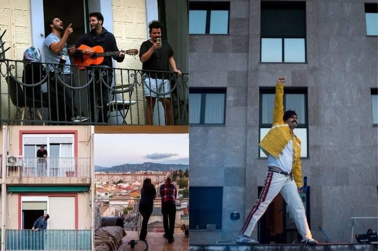 Coronavirus Fotos De Gente En Balcones Y Mensajes De