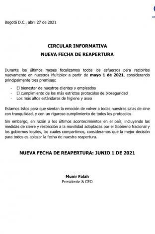 comunicado Cine Colombia