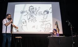 Liniers y Montt en Los Ilustres, un stand up ilustrado