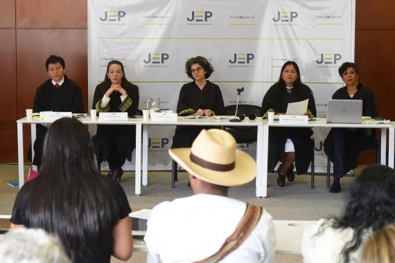 Magistrados de la sala de Reconocimiento de la verdad de la JEP.