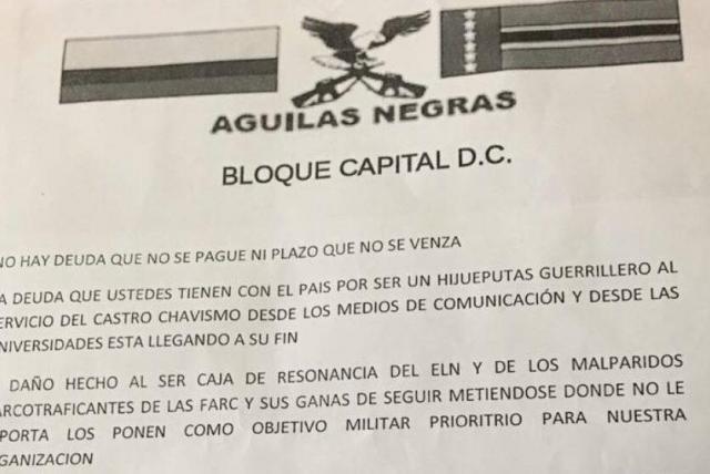 Águilas Negras amenazan a lideres y periodistas - Partidos Políticos -  Política - ELTIEMPO.COM