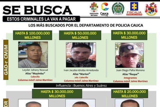 Este Es El Cartel De Los Más Buscados En Cauca Con Mayimbú