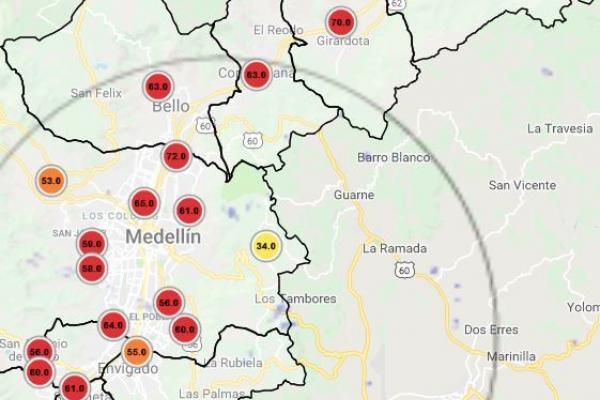 Estaciones para medir la calidad del aire en Medellín