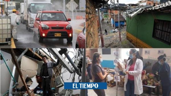 Aspersión a carros que salen de Bogotá y más fotos de la cuarentena