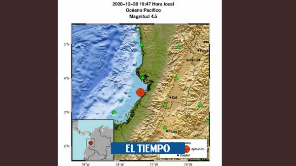 Atención: registran fuerte temblor en el Pacífico colombiano
