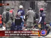 Fuera de peligro niña sobreviviente a caída de edificio en Cartagena