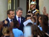 Presidente Santos ya está con Emmanuel Macron, mandatario francés