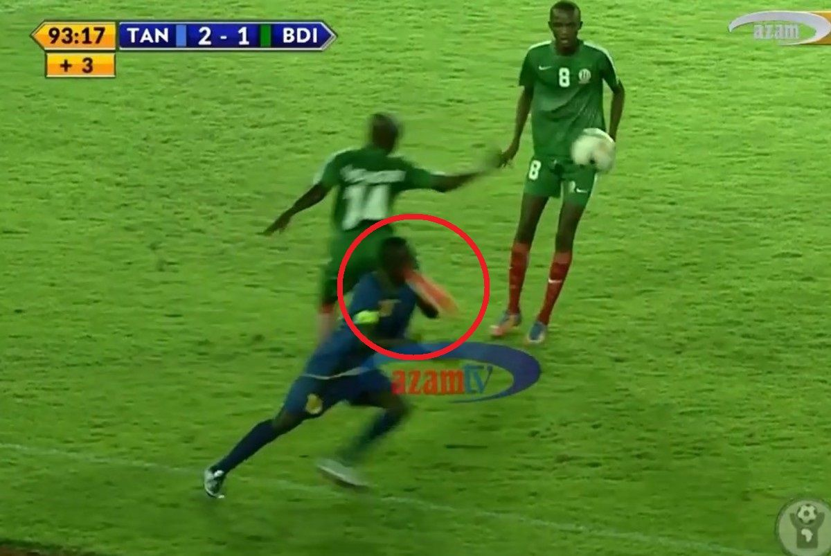 Video of kick to the neck and stomp in match Tanzania - Burundi - International Soccer - Sports